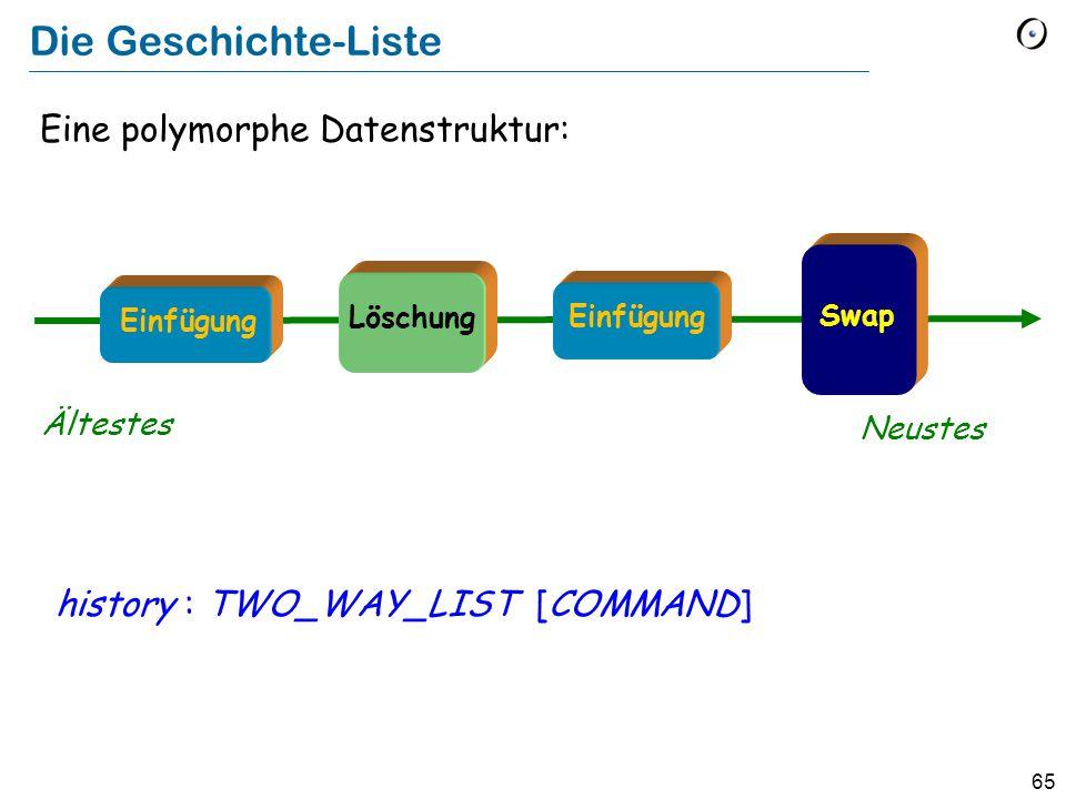 65 Eine polymorphe Datenstruktur: history : TWO_WAY_LIST [COMMAND] Die Geschichte-Liste Ältestes Neustes Löschung Swap Einfügung