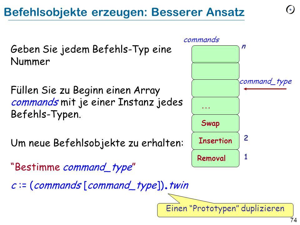 74 Befehlsobjekte erzeugen: Besserer Ansatz Geben Sie jedem Befehls-Typ eine Nummer Füllen Sie zu Beginn einen Array commands mit je einer Instanz jedes Befehls-Typen.