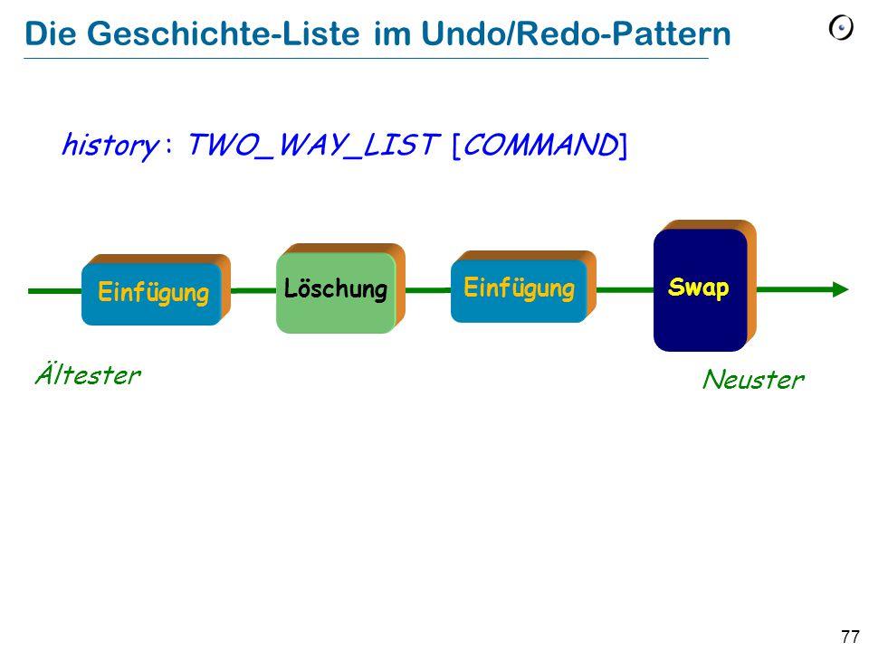 77 Die Geschichte-Liste im Undo/Redo-Pattern history : TWO_WAY_LIST [COMMAND] Ältester Neuster Löschung Swap Einfügung