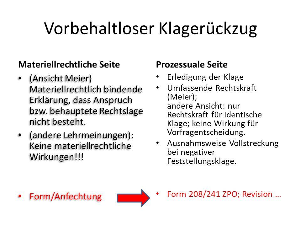 Vorbehaltloser Klagerückzug Materiellrechtliche Seite (Ansicht Meier) Materiellrechtlich bindende Erklärung, dass Anspruch bzw. behauptete Rechtslage
