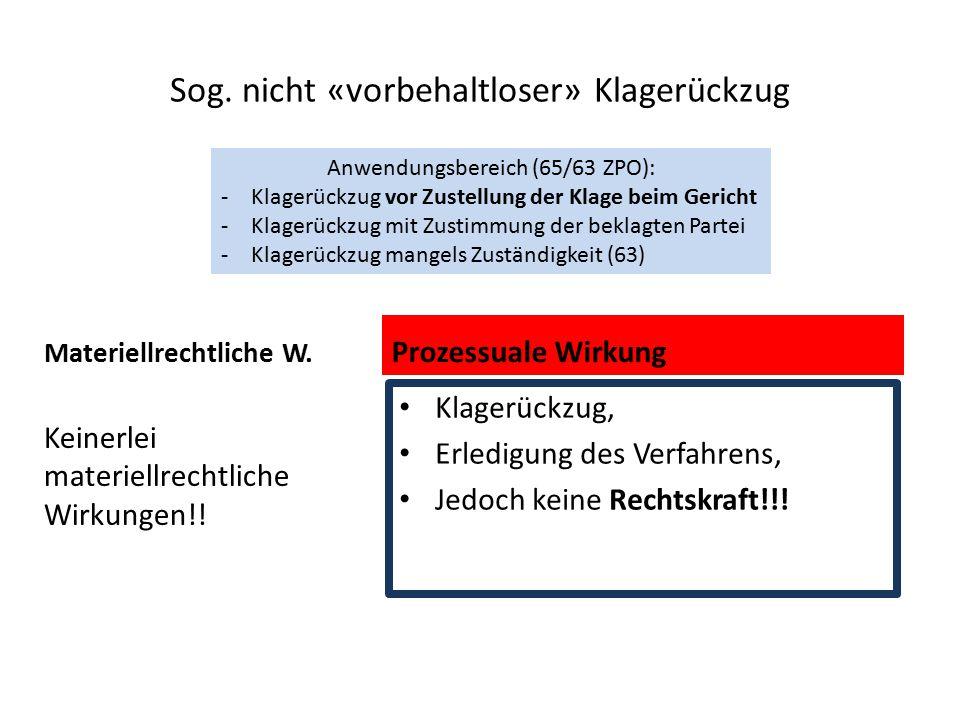 Sog. nicht «vorbehaltloser» Klagerückzug Materiellrechtliche W. Keinerlei materiellrechtliche Wirkungen!! Prozessuale Wirkung Klagerückzug, Erledigung