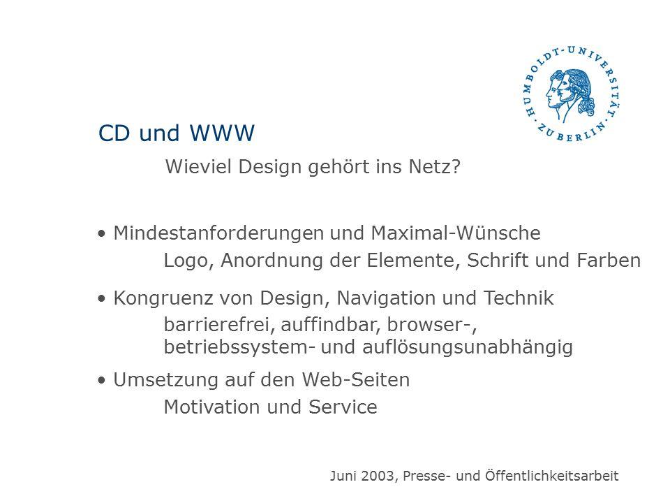 Mindestanforderungen und Maximal-Wünsche Logo, Anordnung der Elemente, Schrift und Farben Kongruenz von Design, Navigation und Technik barrierefrei, a