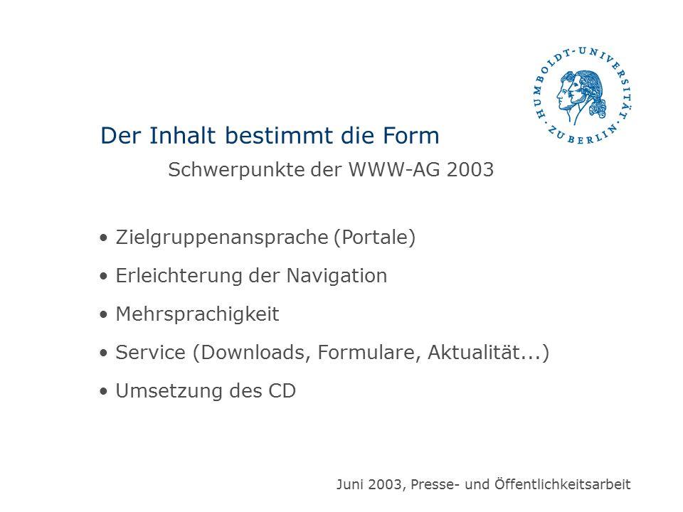 Zielgruppenansprache (Portale) Erleichterung der Navigation Mehrsprachigkeit Service (Downloads, Formulare, Aktualität...) Umsetzung des CD Der Inhalt