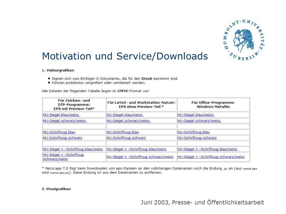 Juni 2003, Presse- und Öffentlichkeitsarbeit Motivation und Service/Downloads