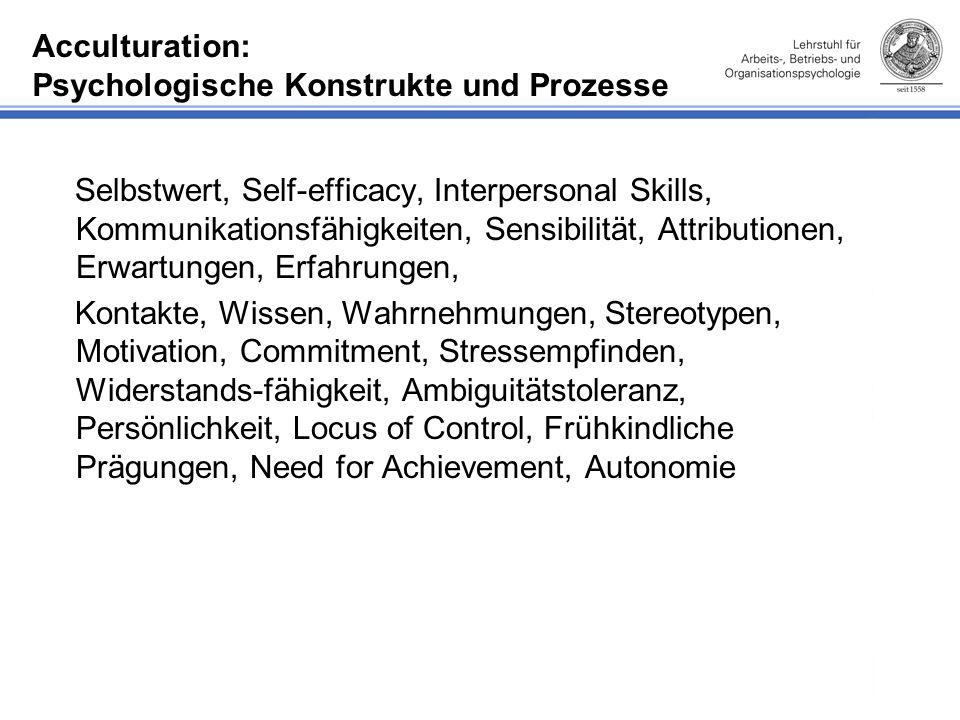 Acculturation: Psychologische Konstrukte und Prozesse Selbstwert, Self-efficacy, Interpersonal Skills, Kommunikationsfähigkeiten, Sensibilität, Attributionen, Erwartungen, Erfahrungen, Kontakte, Wissen, Wahrnehmungen, Stereotypen, Motivation, Commitment, Stressempfinden, Widerstands-fähigkeit, Ambiguitätstoleranz, Persönlichkeit, Locus of Control, Frühkindliche Prägungen, Need for Achievement, Autonomie
