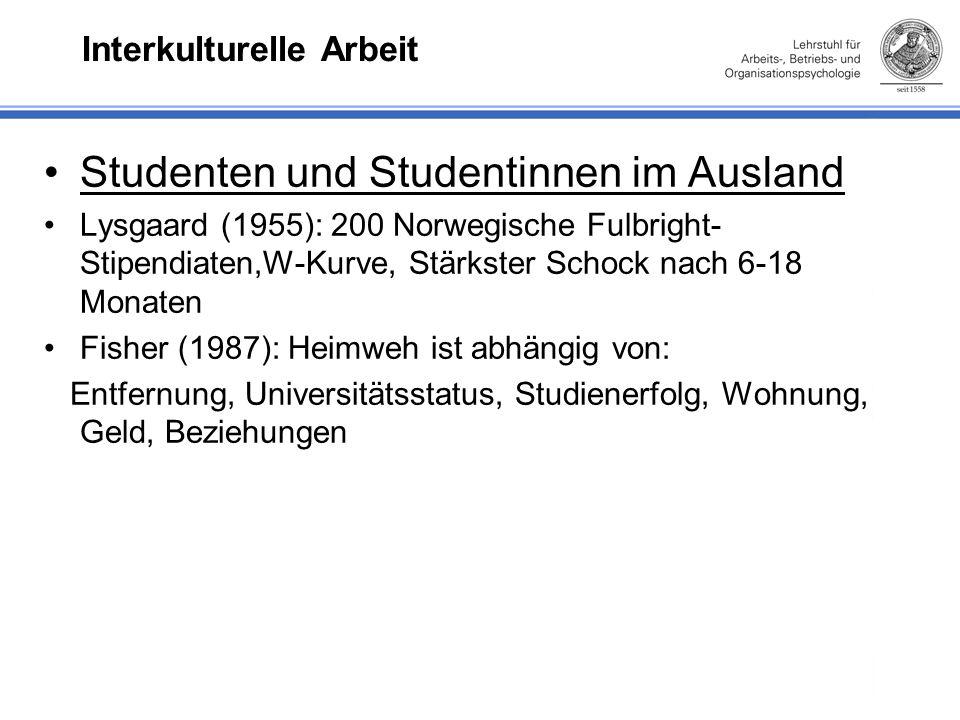 Interkulturelle Arbeit Studenten und Studentinnen im Ausland Lysgaard (1955): 200 Norwegische Fulbright- Stipendiaten,W-Kurve, Stärkster Schock nach 6-18 Monaten Fisher (1987): Heimweh ist abhängig von: Entfernung, Universitätsstatus, Studienerfolg, Wohnung, Geld, Beziehungen