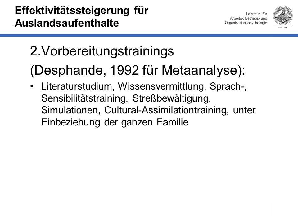 Effektivitätssteigerung für Auslandsaufenthalte 2.Vorbereitungstrainings (Desphande, 1992 für Metaanalyse): Literaturstudium, Wissensvermittlung, Sprach-, Sensibilitätstraining, Streßbewältigung, Simulationen, Cultural-Assimilationtraining, unter Einbeziehung der ganzen Familie
