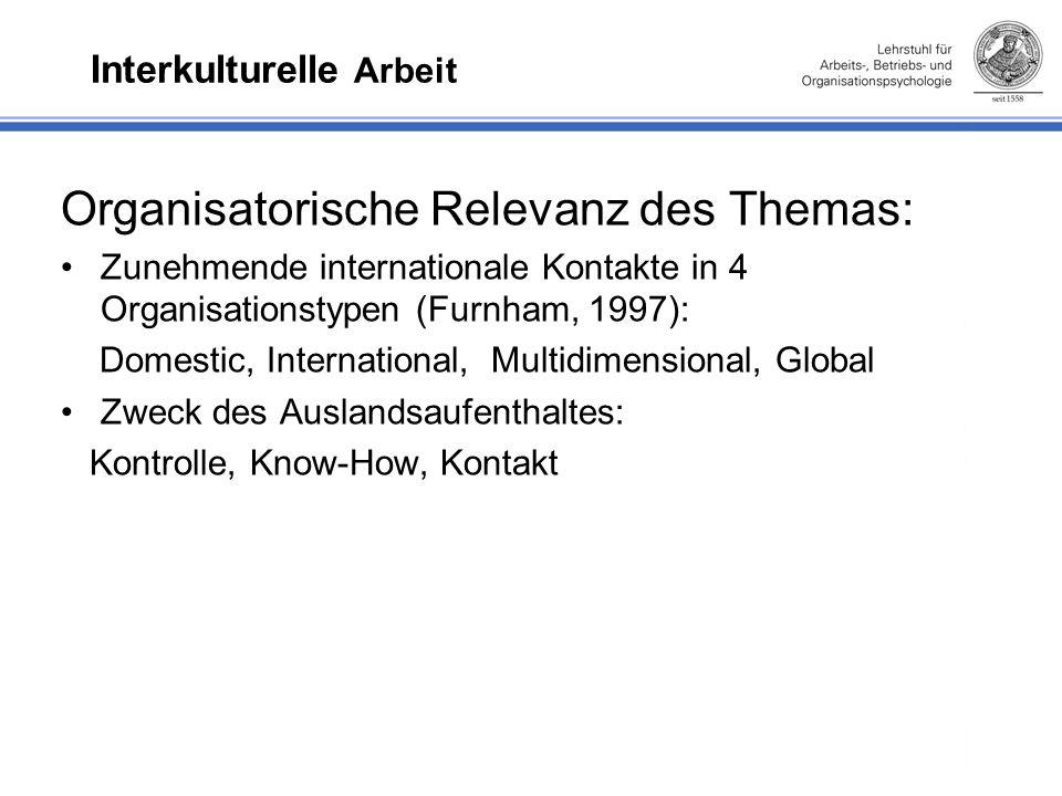 Interkulturelle Arbeit Organisatorische Relevanz des Themas: Zunehmende internationale Kontakte in 4 Organisationstypen (Furnham, 1997): Domestic, International, Multidimensional, Global Zweck des Auslandsaufenthaltes: Kontrolle, Know-How, Kontakt