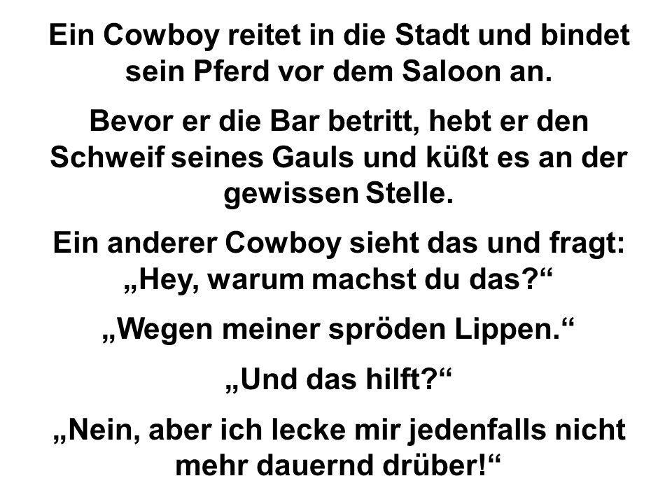 Ein Cowboy reitet in die Stadt und bindet sein Pferd vor dem Saloon an. Bevor er die Bar betritt, hebt er den Schweif seines Gauls und küßt es an der