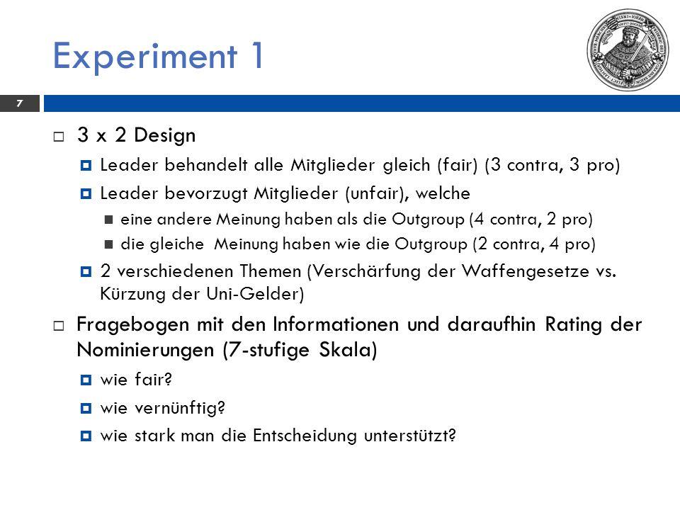 Experiment 1 - Ergebnis 8 Mittelwerte in den gleichen Zeilen ohne gleiche Buchstaben sind signifikant voneinander verschieden.