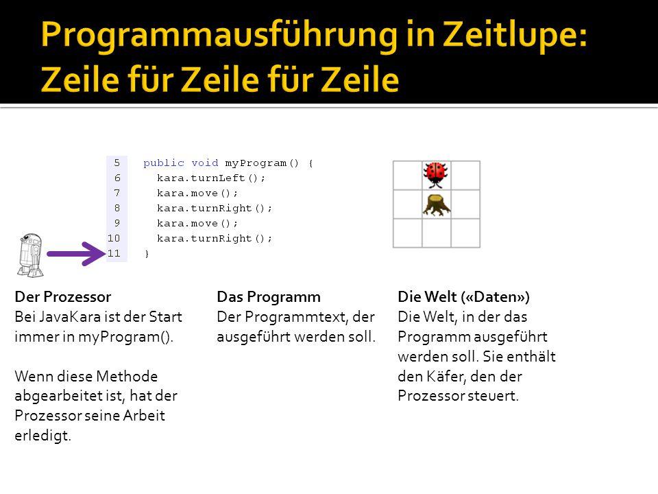 Der Prozessor Bei JavaKara ist der Start immer in myProgram(). Wenn diese Methode abgearbeitet ist, hat der Prozessor seine Arbeit erledigt. Das Progr