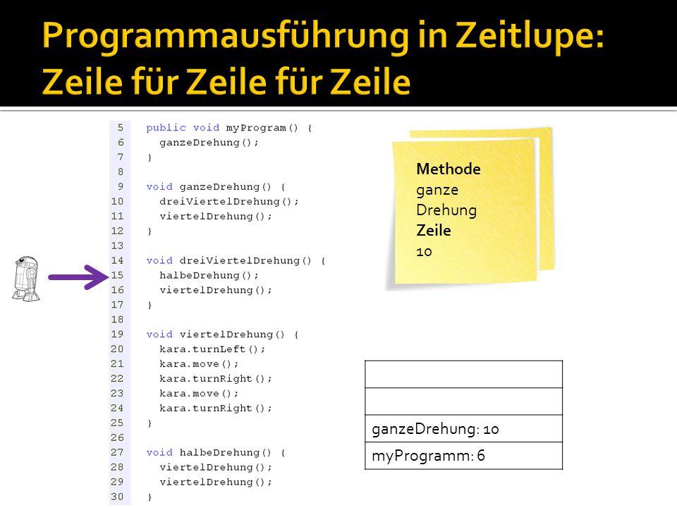Methode myProgram Zeile 6 Methode ganze Drehung Zeile 10 ganzeDrehung: 10 myProgramm: 6