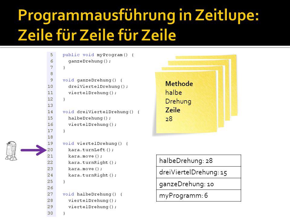 Methode myProgram Zeile 6 Methode ganze Drehung Zeile 10 Methode dreiViertel Drehung Zeile 15 Methode halbe Drehung Zeile 28 halbeDrehung: 28 dreiVier