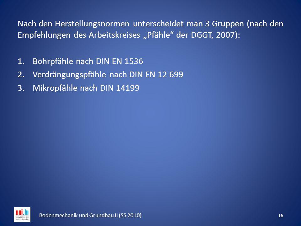"""Nach den Herstellungsnormen unterscheidet man 3 Gruppen (nach den Empfehlungen des Arbeitskreises """"Pfähle"""" der DGGT, 2007): 1.Bohrpfähle nach DIN EN 1"""