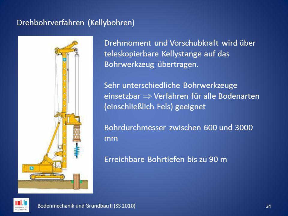 Drehbohrverfahren (Kellybohren) 24 Bodenmechanik und Grundbau II (SS 2010) Drehmoment und Vorschubkraft wird über teleskopierbare Kellystange auf das