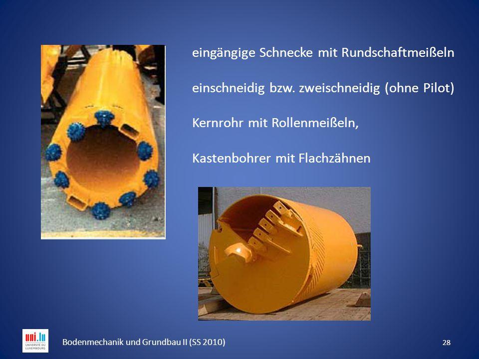 28 Bodenmechanik und Grundbau II (SS 2010) eingängige Schnecke mit Rundschaftmeißeln einschneidig bzw. zweischneidig (ohne Pilot) Kernrohr mit Rollenm
