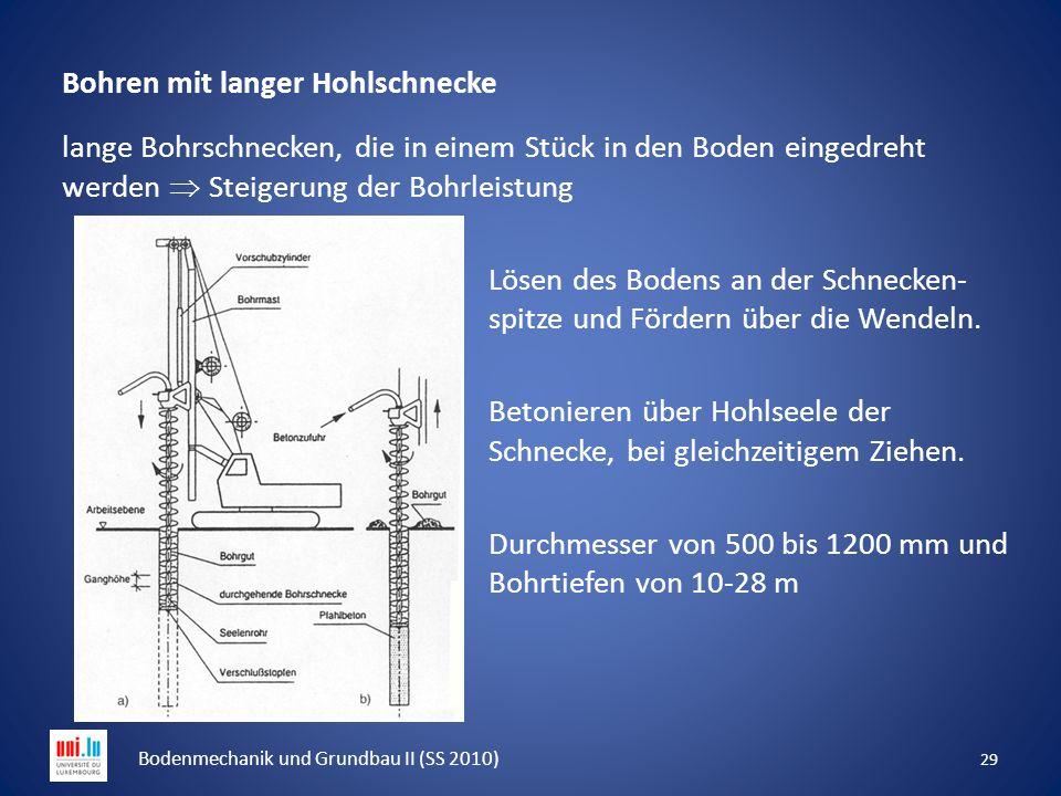 Bohren mit langer Hohlschnecke lange Bohrschnecken, die in einem Stück in den Boden eingedreht werden  Steigerung der Bohrleistung Lösen des Bodens a