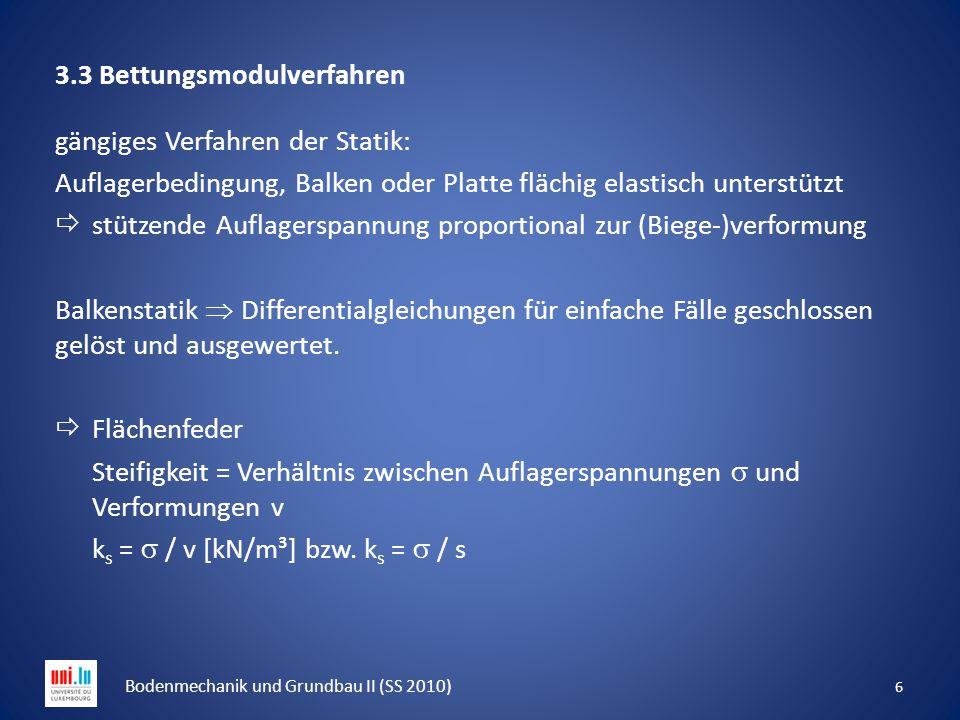 3.3 Bettungsmodulverfahren gängiges Verfahren der Statik: Auflagerbedingung, Balken oder Platte flächig elastisch unterstützt  stützende Auflagerspan