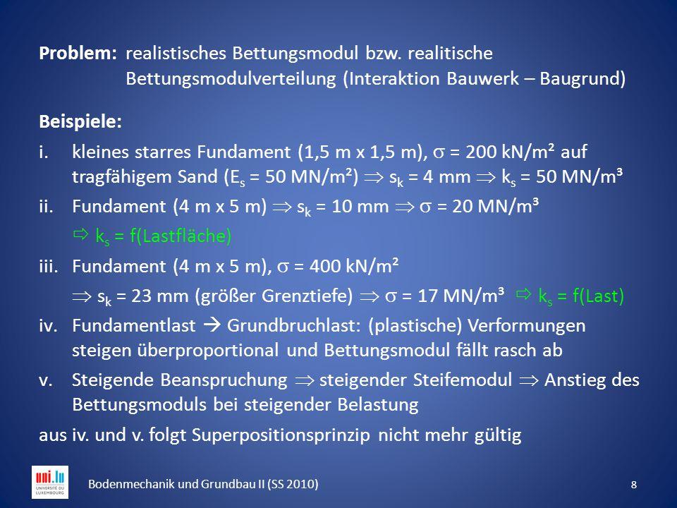Problem: realistisches Bettungsmodul bzw. realitische Bettungsmodulverteilung (Interaktion Bauwerk – Baugrund) Beispiele: i.kleines starres Fundament