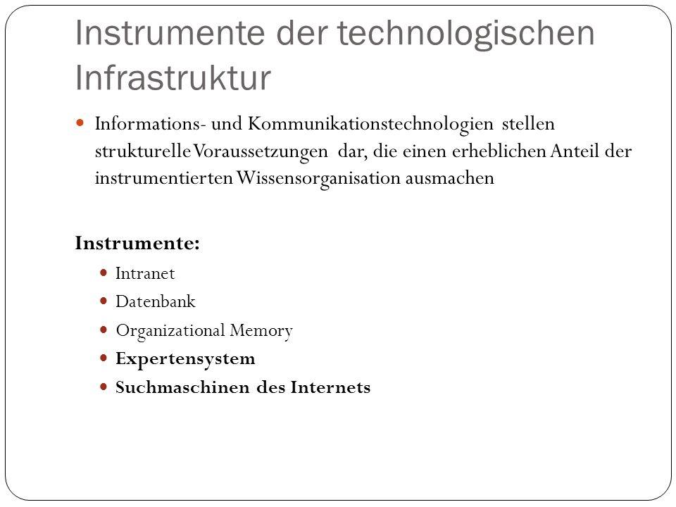 Instrumente der technologischen Infrastruktur Informations- und Kommunikationstechnologien stellen strukturelle Voraussetzungen dar, die einen erhebli