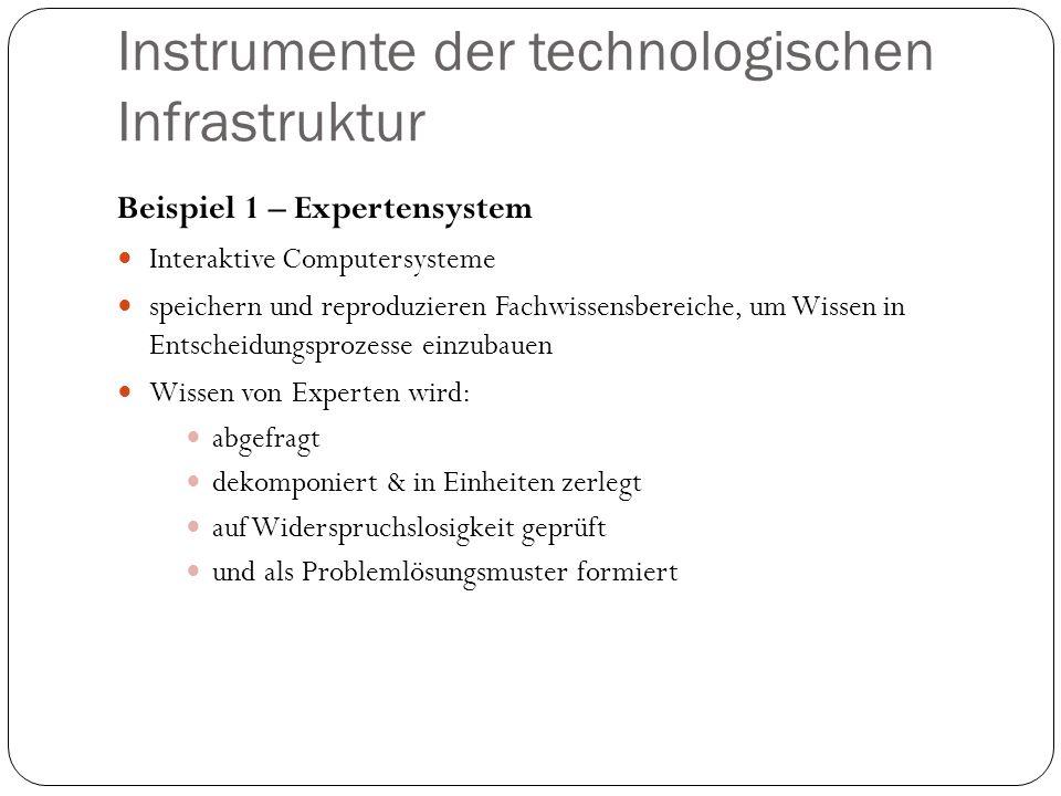 Instrumente der technologischen Infrastruktur Beispiel 1 – Expertensystem Interaktive Computersysteme speichern und reproduzieren Fachwissensbereiche,