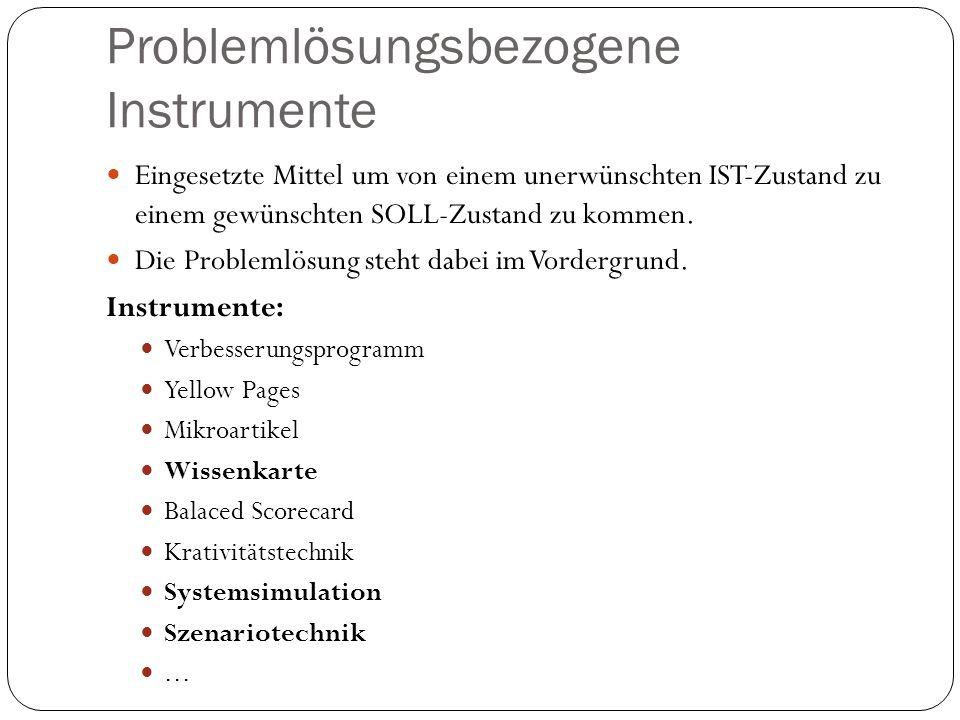 Problemlösungsbezogene Instrumente Eingesetzte Mittel um von einem unerwünschten IST-Zustand zu einem gewünschten SOLL-Zustand zu kommen. Die Probleml