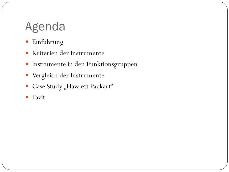 """Agenda Einführung Kriterien der Instrumente Instrumente in den Funktionsgruppen Vergleich der Instrumente Case Study """"Hawlett Packart"""" Fazit"""