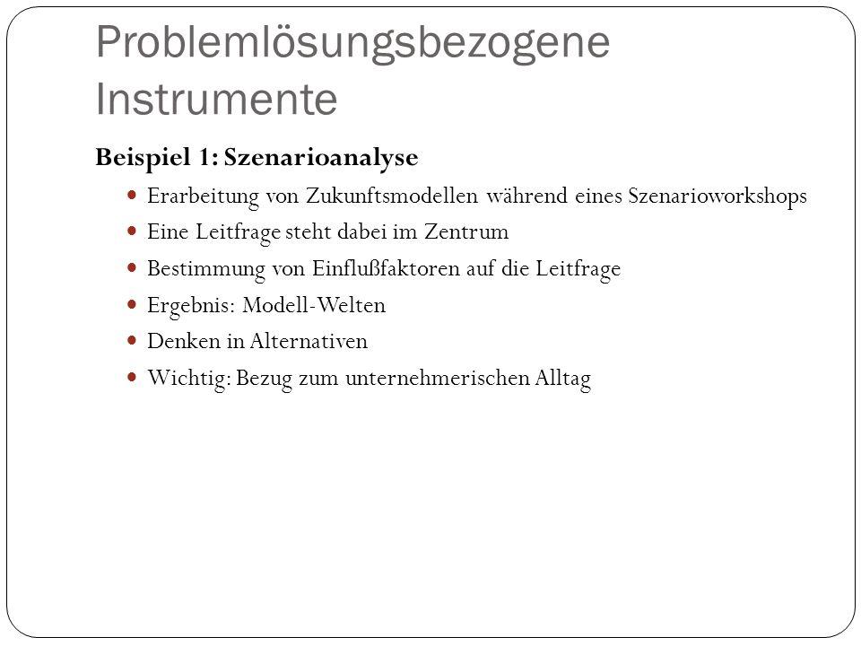 Problemlösungsbezogene Instrumente Beispiel 1: Szenarioanalyse Erarbeitung von Zukunftsmodellen während eines Szenarioworkshops Eine Leitfrage steht d