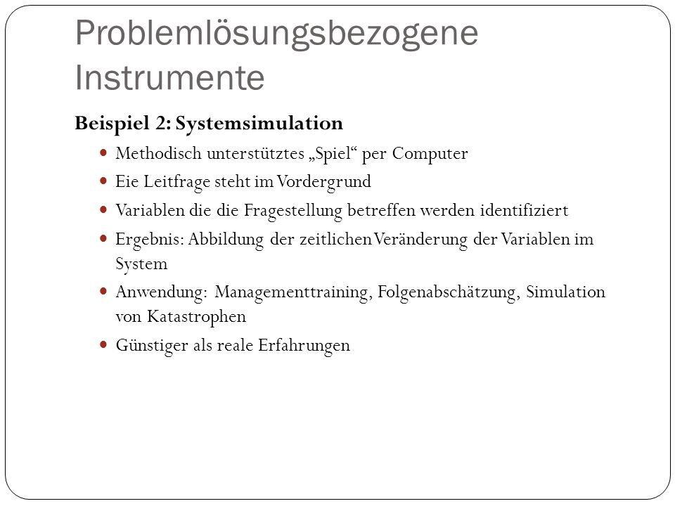 """Problemlösungsbezogene Instrumente Beispiel 2: Systemsimulation Methodisch unterstütztes """"Spiel"""" per Computer Eie Leitfrage steht im Vordergrund Varia"""