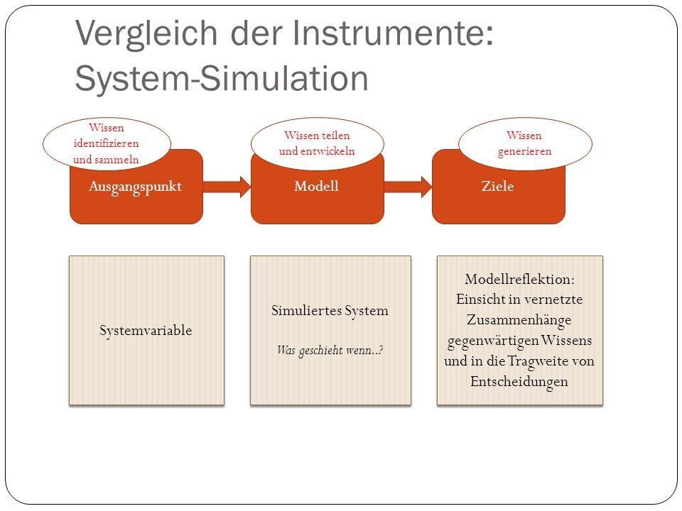 Vergleich der Instrumente: System-Simulation AusgangspunktModellZiele Systemvariable Simuliertes System Was geschieht wenn..? Simuliertes System Was g