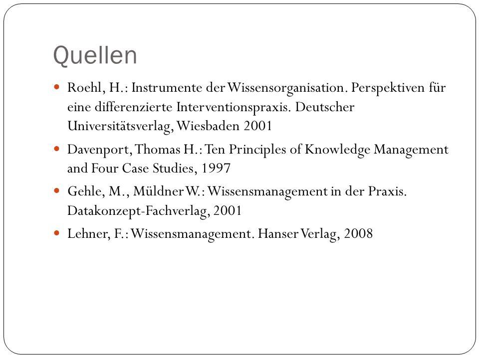 Quellen Roehl, H.: Instrumente der Wissensorganisation. Perspektiven für eine differenzierte Interventionspraxis. Deutscher Universitätsverlag, Wiesba