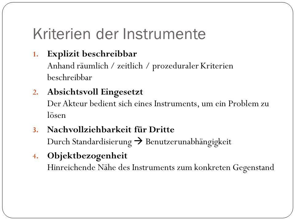 Kriterien der Instrumente 1. Explizit beschreibbar Anhand räumlich / zeitlich / prozeduraler Kriterien beschreibbar 2. Absichtsvoll Eingesetzt Der Akt