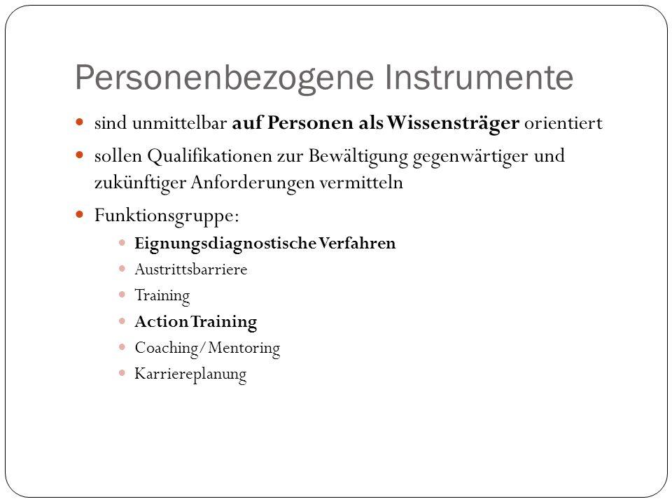 Personenbezogene Instrumente sind unmittelbar auf Personen als Wissensträger orientiert sollen Qualifikationen zur Bewältigung gegenwärtiger und zukün