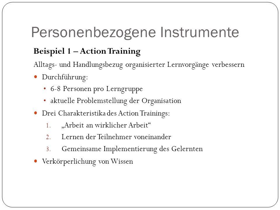 Personenbezogene Instrumente Beispiel 1 – Action Training Alltags- und Handlungsbezug organisierter Lernvorgänge verbessern Durchführung: 6-8 Personen