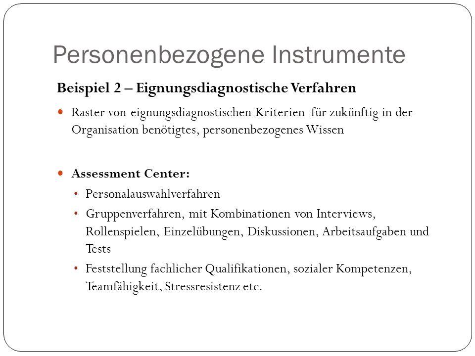 Personenbezogene Instrumente Beispiel 2 – Eignungsdiagnostische Verfahren Raster von eignungsdiagnostischen Kriterien für zukünftig in der Organisatio