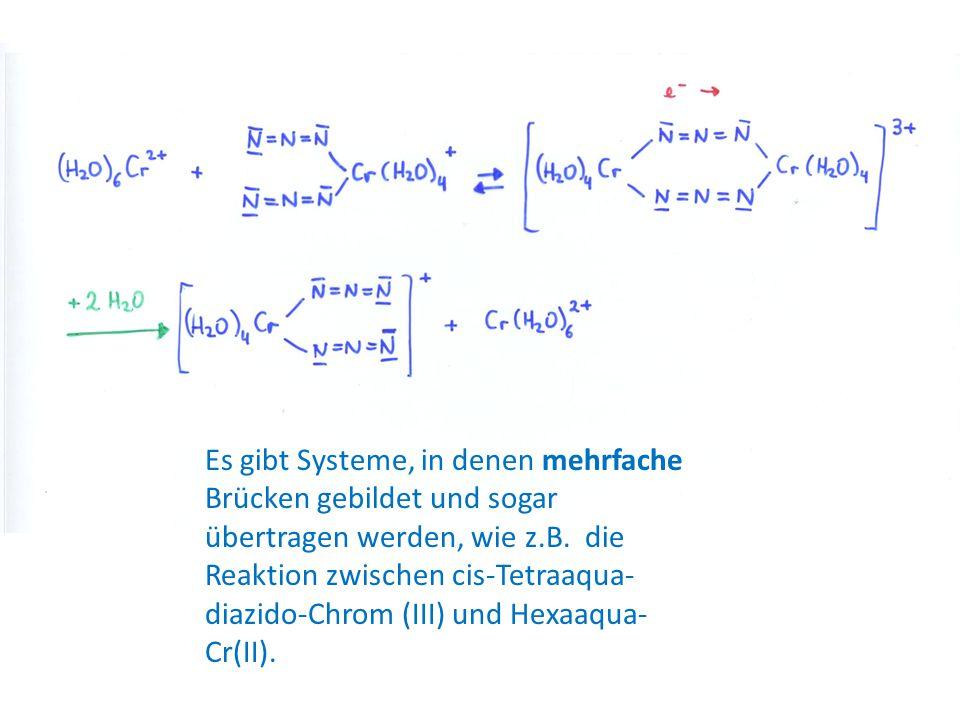 Es gibt Systeme, in denen mehrfache Brücken gebildet und sogar übertragen werden, wie z.B. die Reaktion zwischen cis-Tetraaqua- diazido-Chrom (III) un