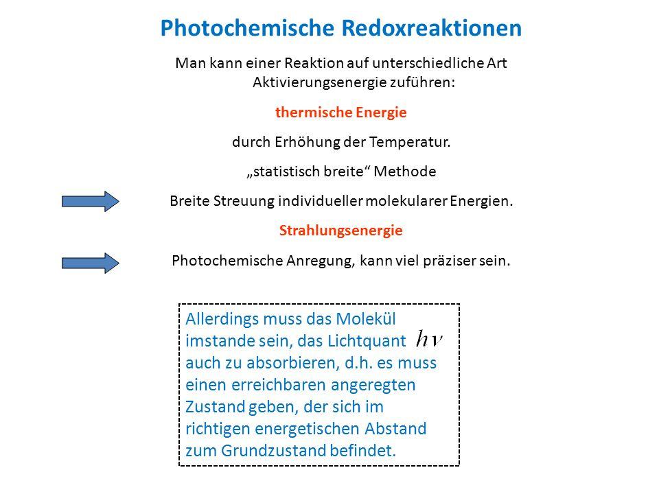 Photochemische Redoxreaktionen Man kann einer Reaktion auf unterschiedliche Art Aktivierungsenergie zuführen: thermische Energie durch Erhöhung der Te