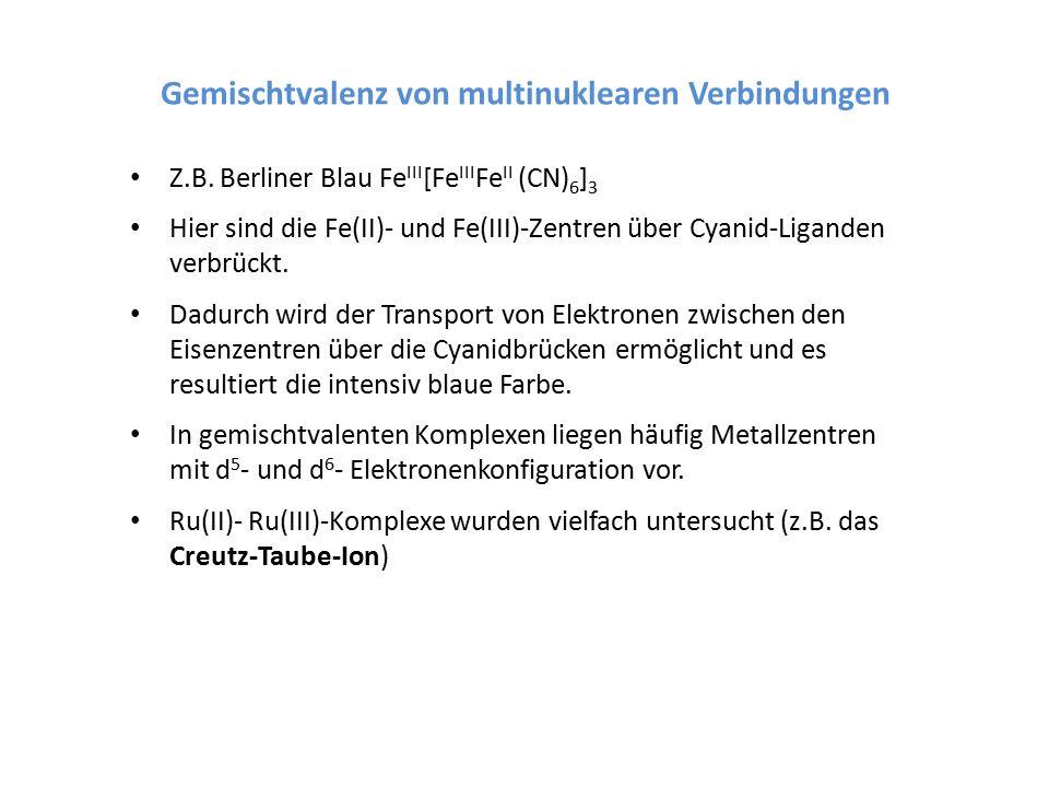 Gemischtvalenz von multinuklearen Verbindungen Z.B. Berliner Blau Fe III [Fe III Fe II (CN) 6 ] 3 Hier sind die Fe(II)- und Fe(III)-Zentren über Cyani