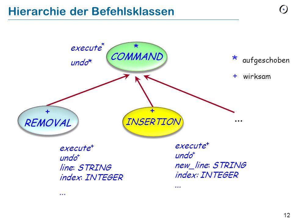 13 Zugrunde liegende Klasse class EDIT_CONTROLLER feature text : TWO_WAY_LIST [STRING] remove -- Lösche Linie an aktueller Position.