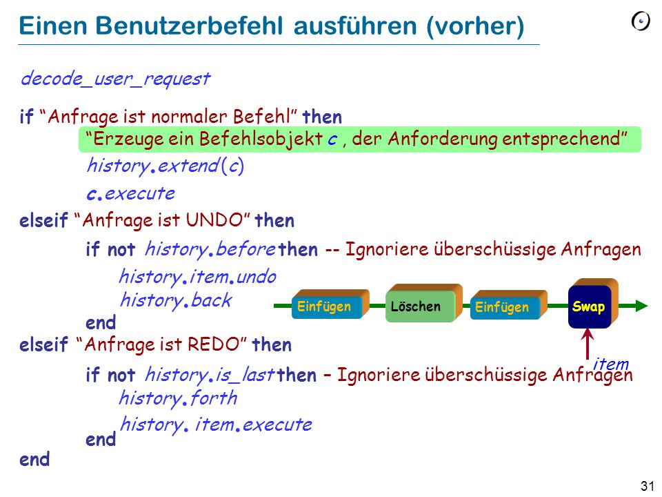31 Einen Benutzerbefehl ausführen (vorher) decode_user_request if Anfrage ist normaler Befehl then Erzeuge ein Befehlsobjekt c, der Anforderung entsprechend history.