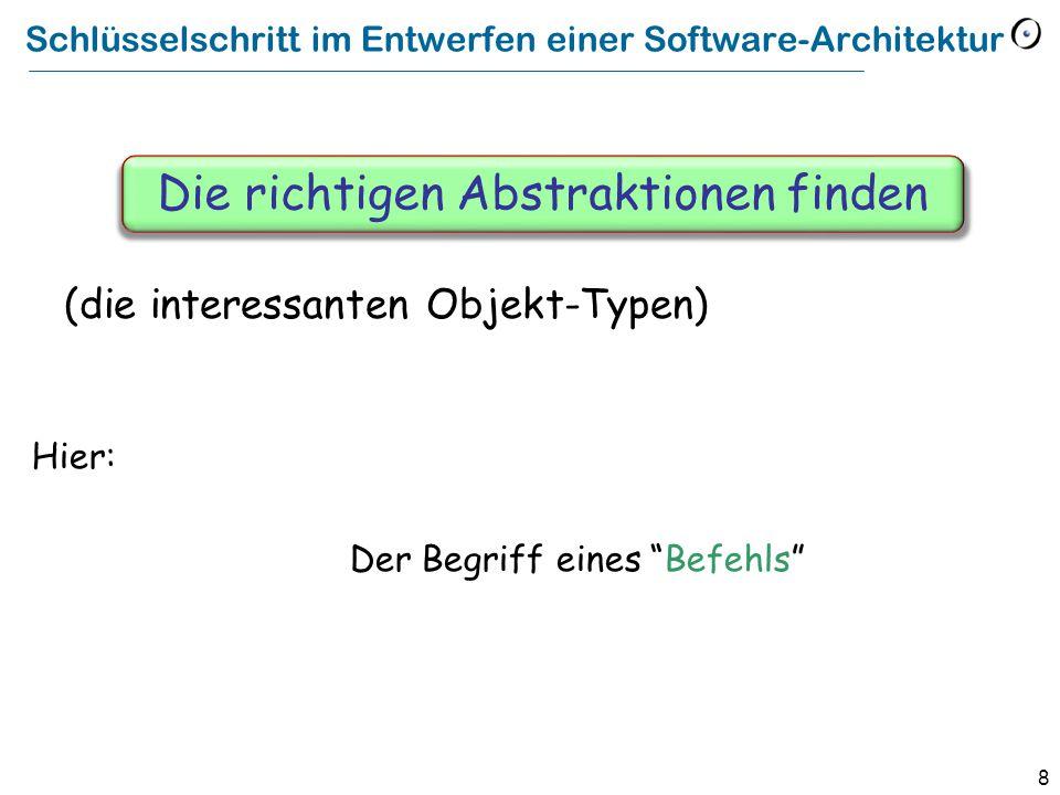 8 Schlüsselschritt im Entwerfen einer Software-Architektur Hier: Der Begriff eines Befehls Die richtigen Abstraktionen finden (die interessanten Objekt-Typen)