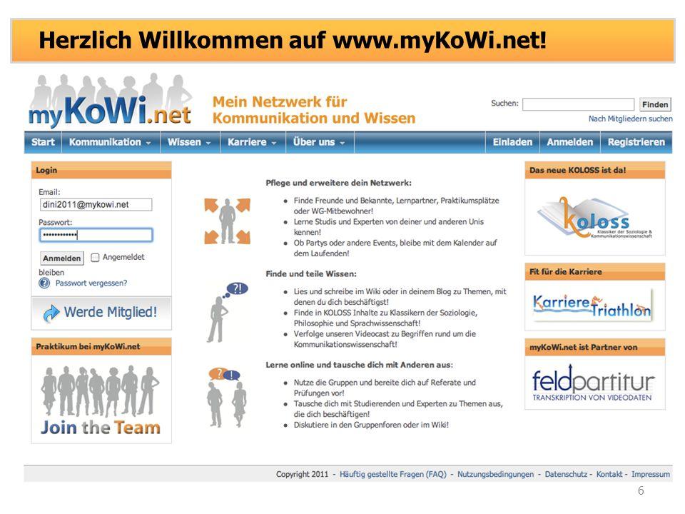 6 Herzlich Willkommen auf www.myKoWi.net!