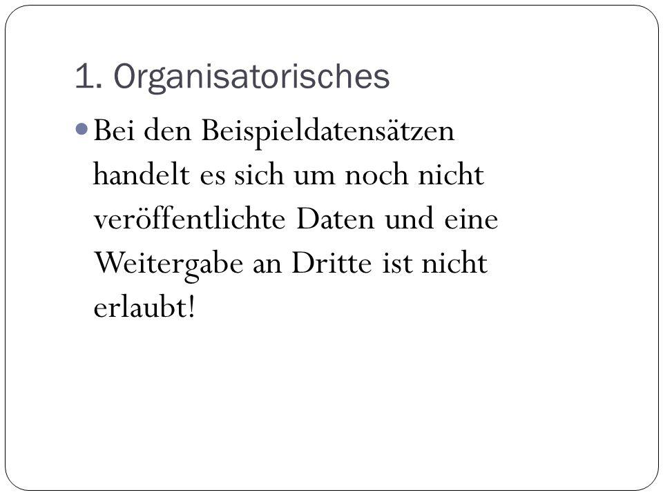 1. Organisatorisches Bei den Beispieldatensätzen handelt es sich um noch nicht veröffentlichte Daten und eine Weitergabe an Dritte ist nicht erlaubt!