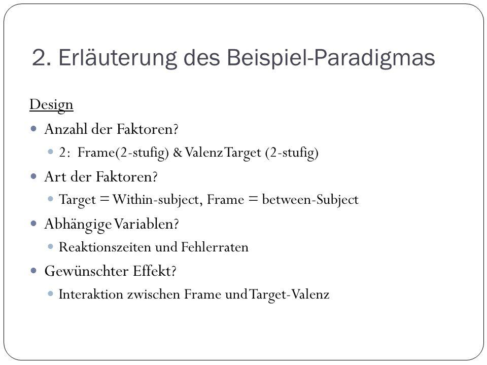 2. Erläuterung des Beispiel-Paradigmas Design Anzahl der Faktoren? 2: Frame(2-stufig) & Valenz Target (2-stufig) Art der Faktoren? Target = Within-sub