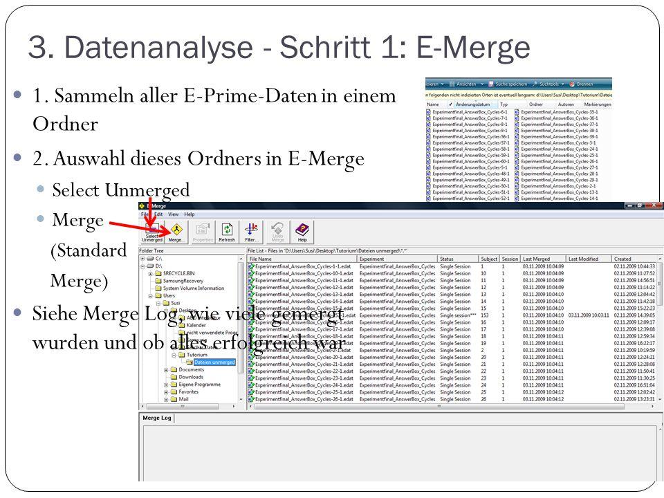 3. Datenanalyse - Schritt 1: E-Merge 1. Sammeln aller E-Prime-Daten in einem Ordner 2. Auswahl dieses Ordners in E-Merge Select Unmerged Merge (Standa