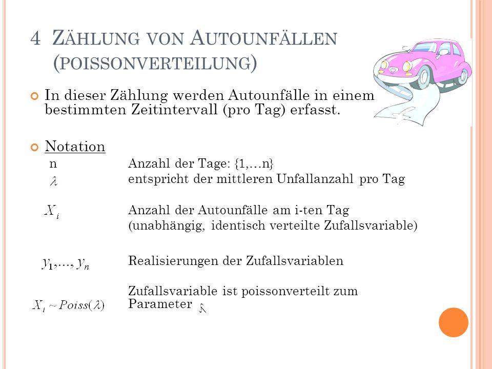 4 Z ÄHLUNG VON A UTOUNFÄLLEN ( POISSONVERTEILUNG ) In dieser Zählung werden Autounfälle in einem bestimmten Zeitintervall (pro Tag) erfasst. Notation