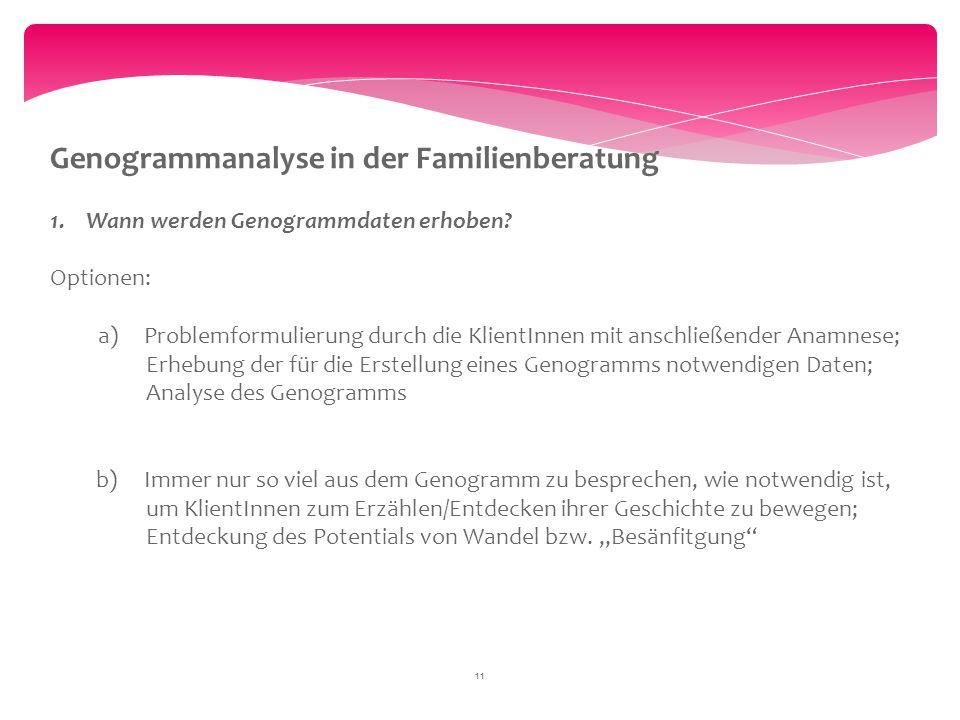 11 Genogrammanalyse in der Familienberatung 1.Wann werden Genogrammdaten erhoben? Optionen: a) Problemformulierung durch die KlientInnen mit anschließ