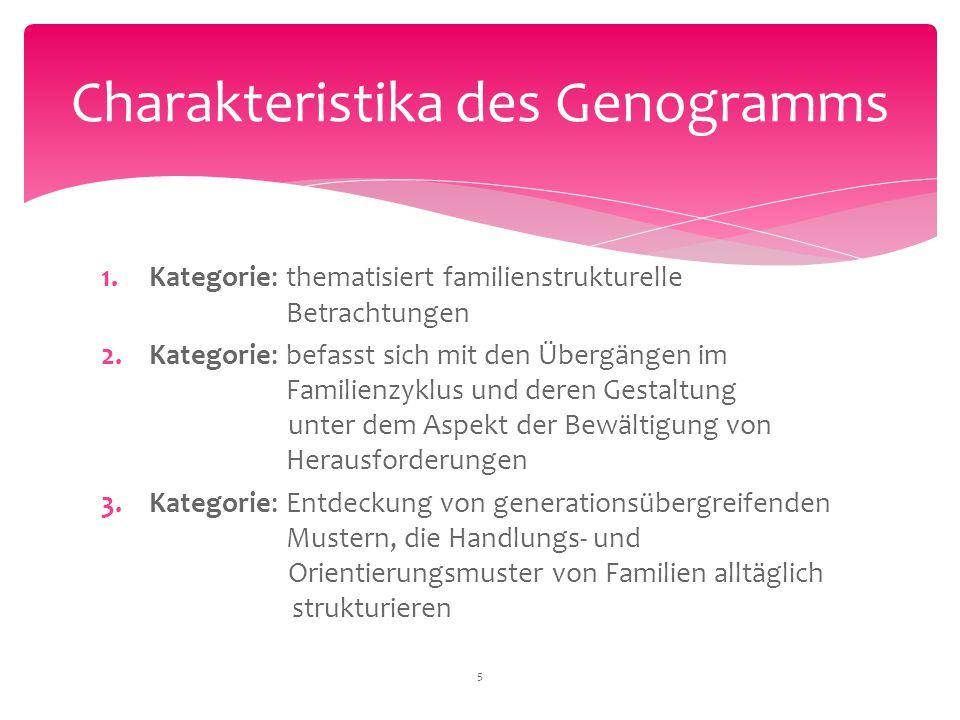 1.Kategorie: thematisiert familienstrukturelle Betrachtungen 2.Kategorie: befasst sich mit den Übergängen im Familienzyklus und deren Gestaltung unter