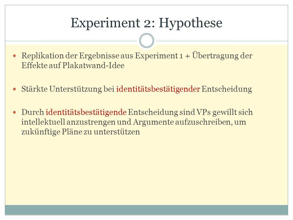 Experiment 2: Hypothese Replikation der Ergebnisse aus Experiment 1 + Übertragung der Effekte auf Plakatwand-Idee Stärkte Unterstützung bei identitätsbestätigender Entscheidung Durch identitätsbestätigende Entscheidung sind VPs gewillt sich intellektuell anzustrengen und Argumente aufzuschreiben, um zukünftige Pläne zu unterstützen