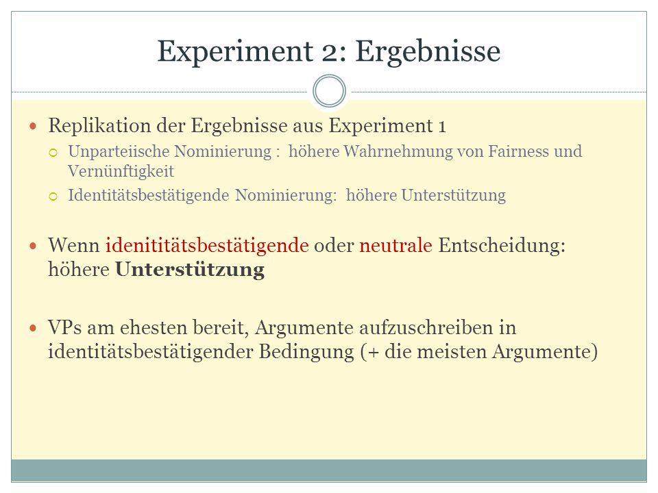 Experiment 2: Ergebnisse Replikation der Ergebnisse aus Experiment 1  Unparteiische Nominierung : höhere Wahrnehmung von Fairness und Vernünftigkeit
